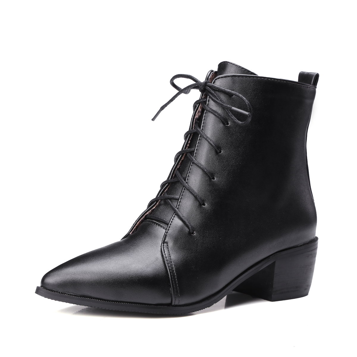 ENMAYER New Fashion women  pointed toe cross-tied ankle boots lady square heel ankle boots Big size 34-43 ZYL657