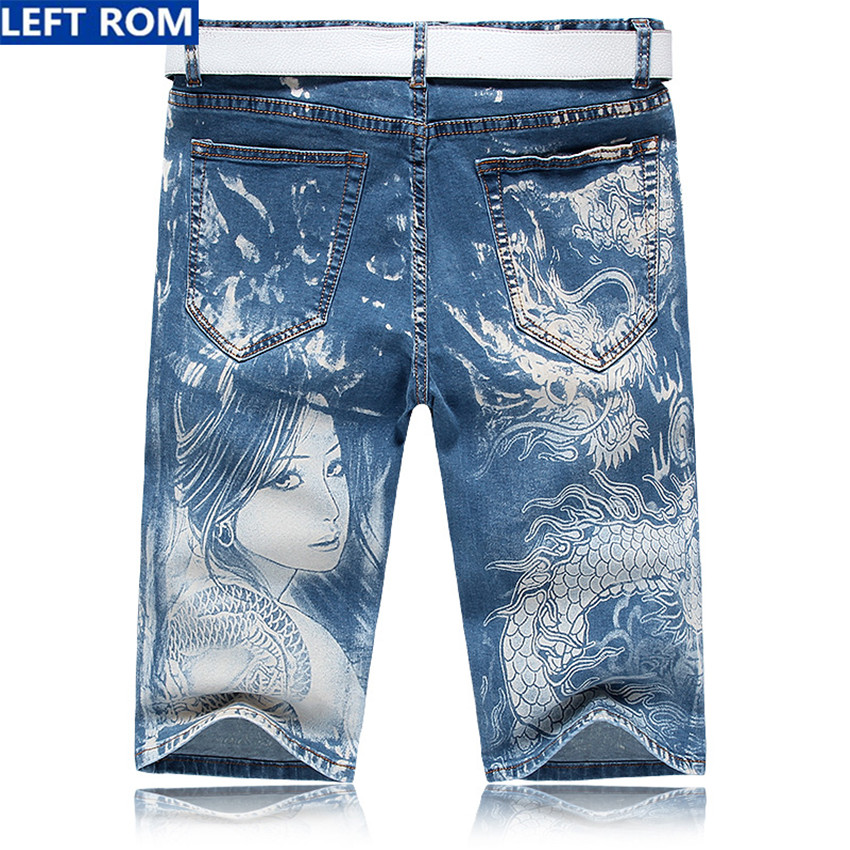 2018 casual blue mens jeans shorts Size 28 29 30 34 36 LEFT ROM new fashion men shorts beautiful patterns Soft and comfortable