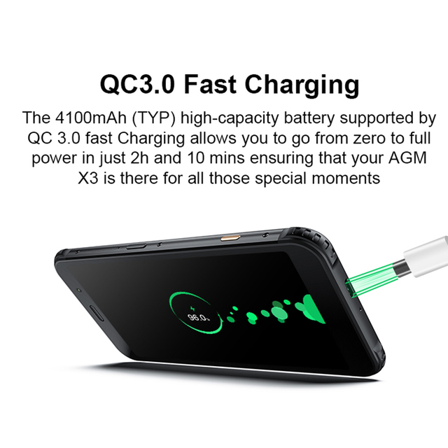 AGM X3 Cobanding 5.99 4G Smartphone 6GB/8GB+64GB SDM845 Android 8.1 IP68 Waterproof Mobile Phone Dual BOX Speaker NFC