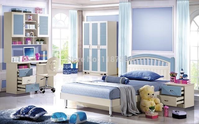 6602# Children bedroom furniture set wardrobe nightstand bed and ...