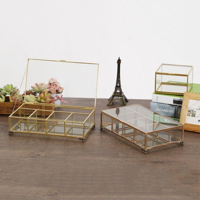 Boîte à bijoux verre boîte verre Arts et artisanat nordique minimaliste carré géométrie verre bijoux boîte de rangement décoration de la maison cadeau