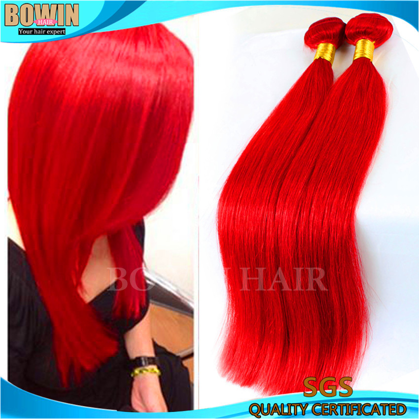 Brazilian Virgin Hair Straight Fire Red Color 100 Human Hair Weave