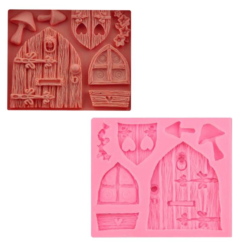 3d de Dibujos Animados Arte de Hadas De Madera Puertas Y Ventanas Forma Mushroom