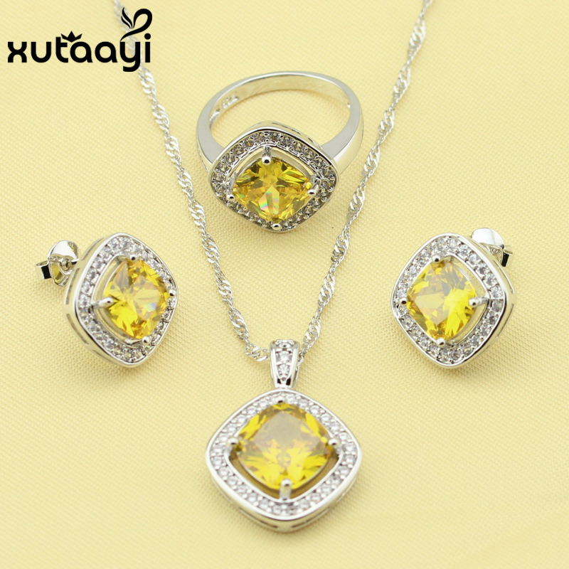 Silver Overlay Jewelry Sets SquareOrange Yellow White Cubic Zirconia Superb Necklace Rings Earrings Wedding Jewelry For Women