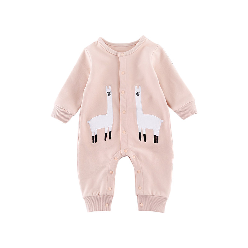 Long Sleeve Romper Cute Spring Autumn Warm Infant Baby Jumpsuit Cartoon Solid Color One-piece Boys Girls Animal Baby Overalls купить в Москве 2019