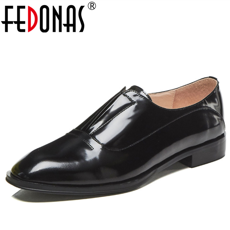 FEDONAS Sexy Punk Black Women Genuine Leather Shoes Woman Low Heels Round Toe Leisure Slip-on Autumn Pumps Female Casual Shoes fedonas fashion women pumps casual women square toe low heels mules slip on slippers rivets button leisure retro british pumps