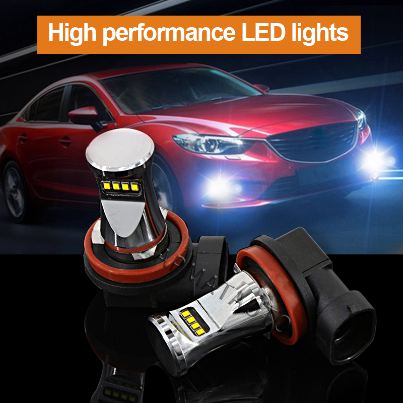 2pcs 6000K White H11 H8 H9 High Power 1800LM By Philips Chips LED Bulbs Car Auto Fog Lights Driving Lamps 12V 2pcs xenon hid white 25w high power 5 xcree xp e chips 881 h27 pgj13 led fog light driving drl bulbs