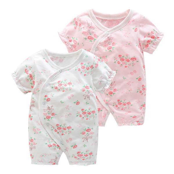 New Summer Short Sleeved Romper Infant Newborn Pajamas Cotton baby rompers flower princess baby girls clothes