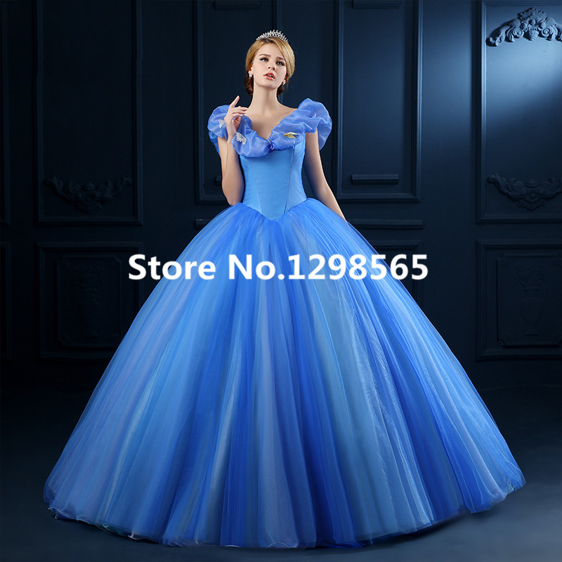2015 Newest Cinderella Dress New Cinderella Movie Cosplay Costume Cinderella Movie Dress Free Shipping