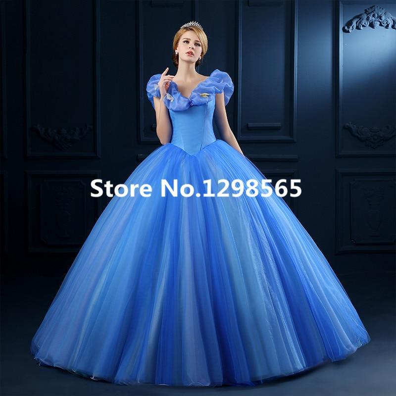 2015 Newest Cinderella Dress New Cinderella Movie Cosplay Costume Cinderella Movie Dress Free Shipping