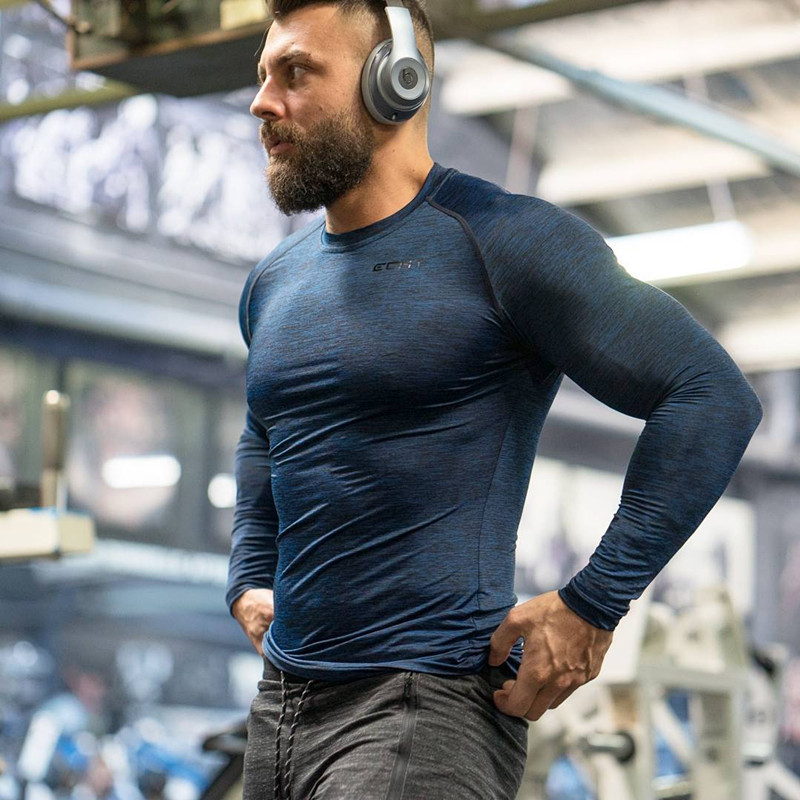 8fefd8af8d09 2017 Muscular aesthetic fitness long sleeve bodysuit stretch brothers men s  coat -in T-Shirts from Men s Clothing on Aliexpress.com