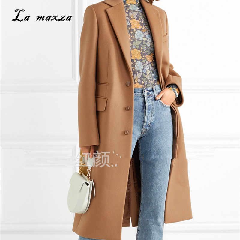 Женское зимнее пальто 2018 элегантный шерстяной теплый длинное пальто корейский стиль мода офис верблюжье пальто
