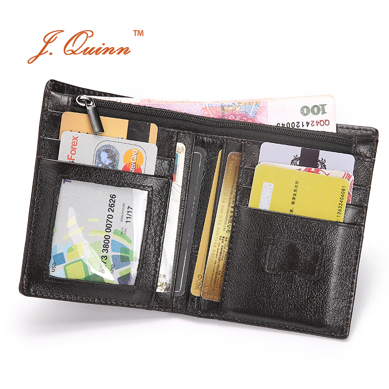 J.Quinn 탈착 가능한 카드 패스 케이스가있는 검은 색 남성 컴팩트 정품 가죽 지갑 짧은 지퍼 지퍼 SIM 지퍼 지갑 2017 지갑