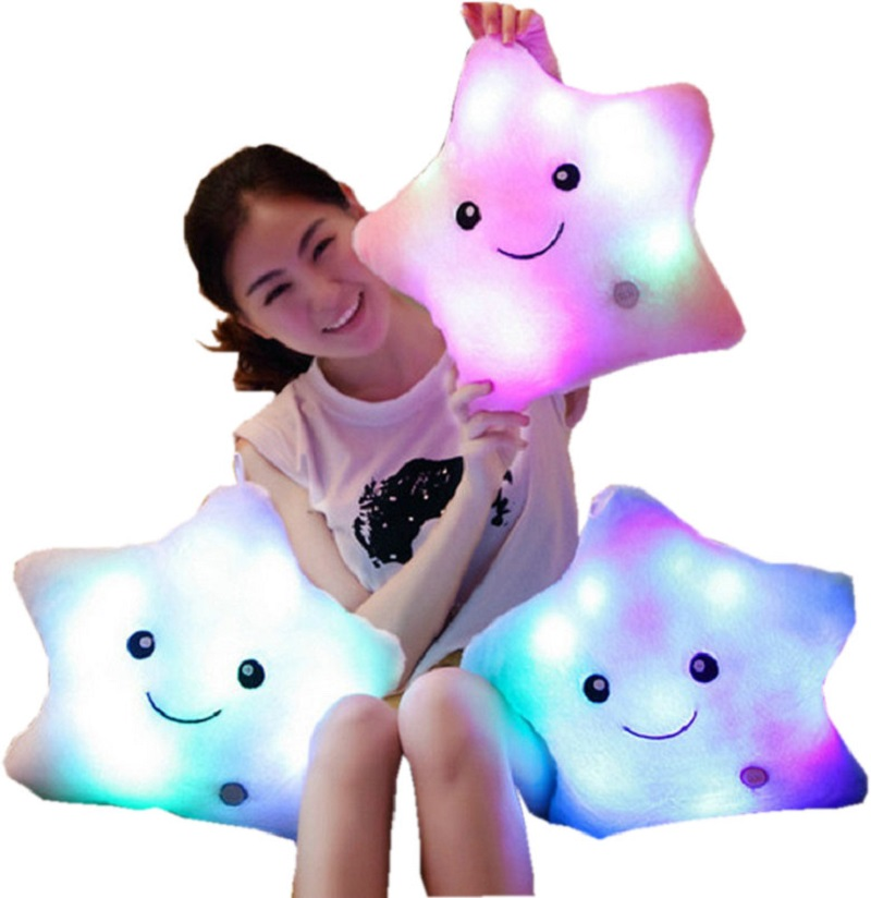 Colorful LED Light  Plush Stuffed Toys Lucky Star Luminous Pillow For Kids Girls Party Birthday Gift Cushion KF372 colorful led plush toys with music and sound light emitting pillow high quality dog