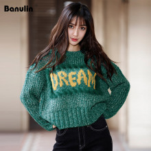 Banulin Turtleneck Loose Sweater Pullover Women Jacket Coat Fashion Long Sleeve Slim Crochet Knit Autumn Winter Tops