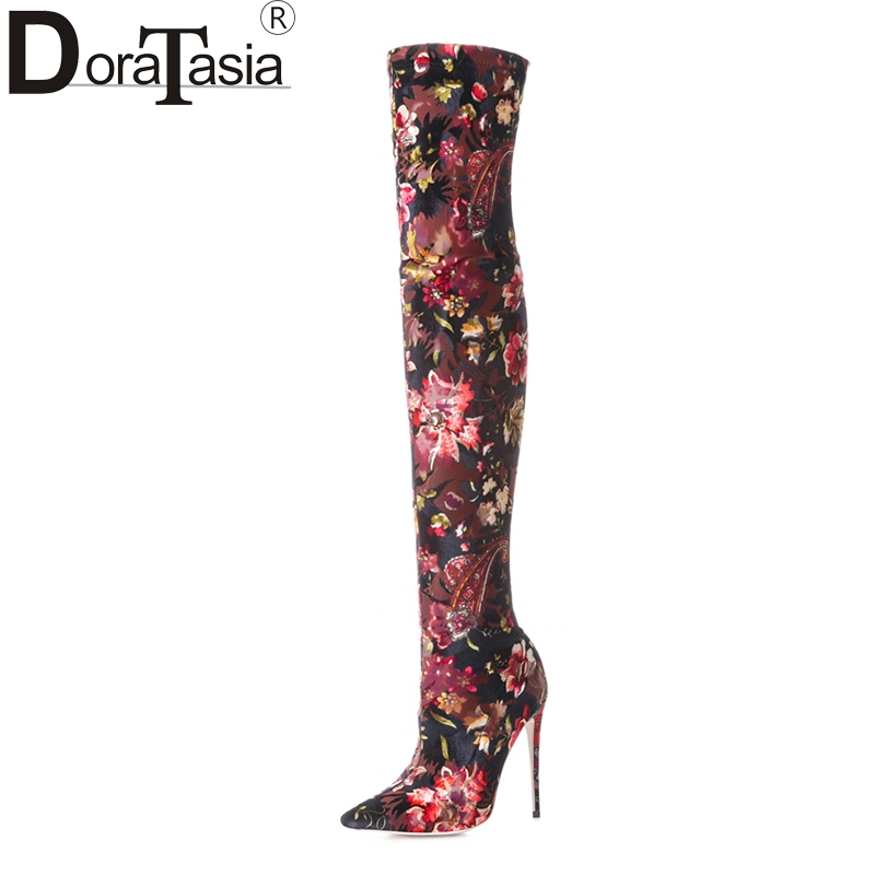 DoraTasia 2018 large size 33-43 flowers printing brand women shoes woman sexy over the knee boots thin high heels party boots татьяна самойлова пишем и учим цифры