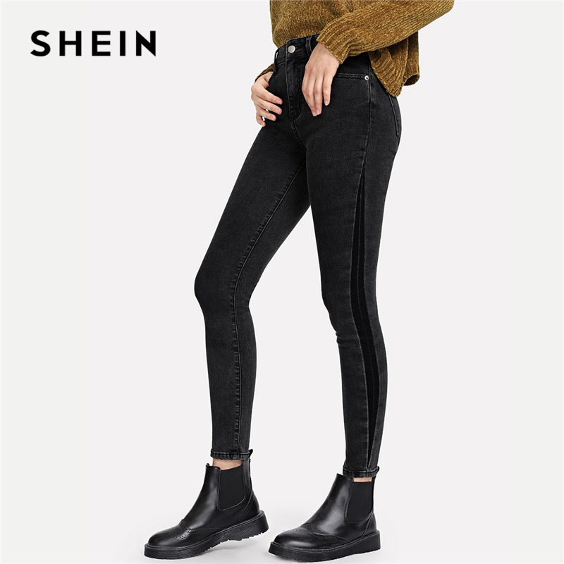 SHEIN Grey Streetwear Mid Waist Elegant Pocket Patched Crop Skinny Button Fly Zipper Fly Jeans 2018 Autumn Women Trousers