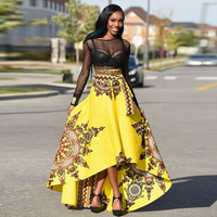 African Clothes Dashiki Print Skirts Bazin Riche Women African Clothing Tutu Skirts with Waistband Red Yellow Swallowtail Skirts