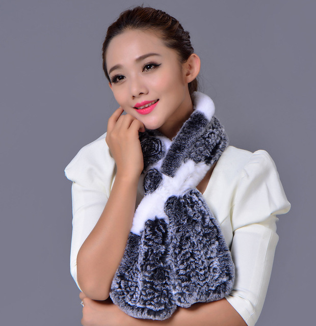 11 Colors High Quality Knitted Women's Winter Scarves Natural Real Rex Rabbit Fur Wraps With Flower Fast Shipping WJ-2