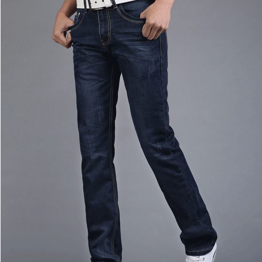 New Hot Sale Blue Jeans Fashion Trend Straight Casual Wear Good Quality Solid Slim Pockets Full Length Zipper Fly Male Pants  new fashion style hot sale autumn winter thick male jeans straight slim looking men full length pants heavyweight solid cozy