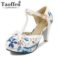 TAOFFEN Size 32 48 Women's Round Toe Square Heel Sandals Ladies heels Women Shoes Sandals Sexy T Strap bow Wedding Party Shoes