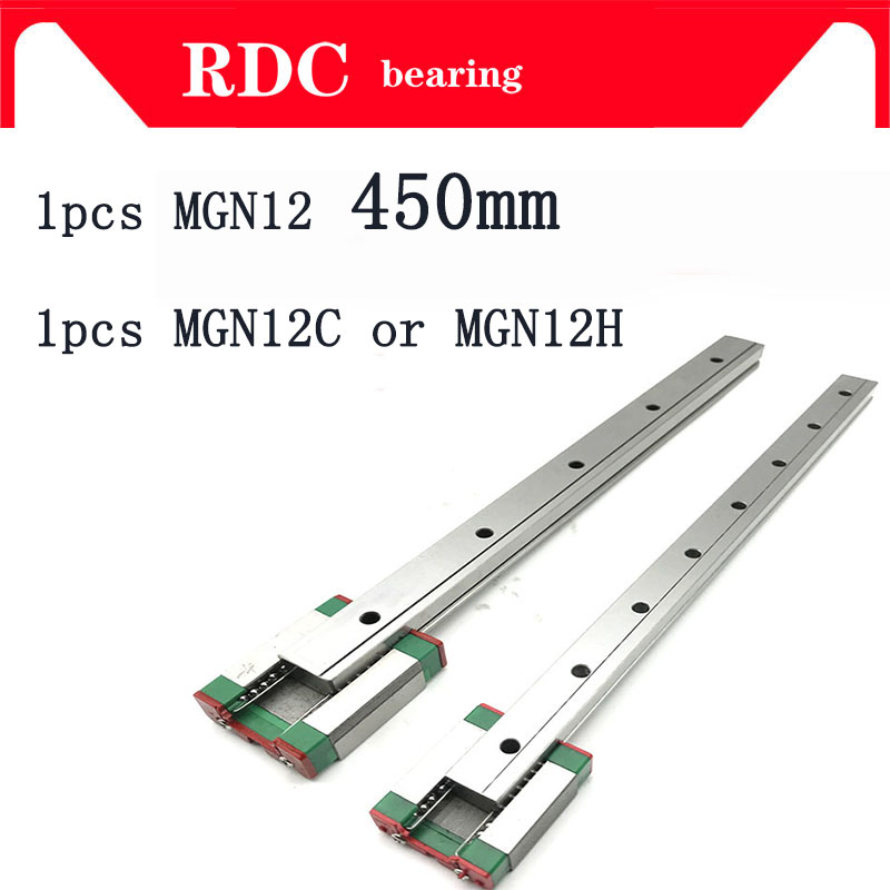 superior 1pcs 12mm Linear Guide MGN12 L= 450mm linear rail way + MGN12C or MGN12H Long linear carriage for CNC XYZ Axis