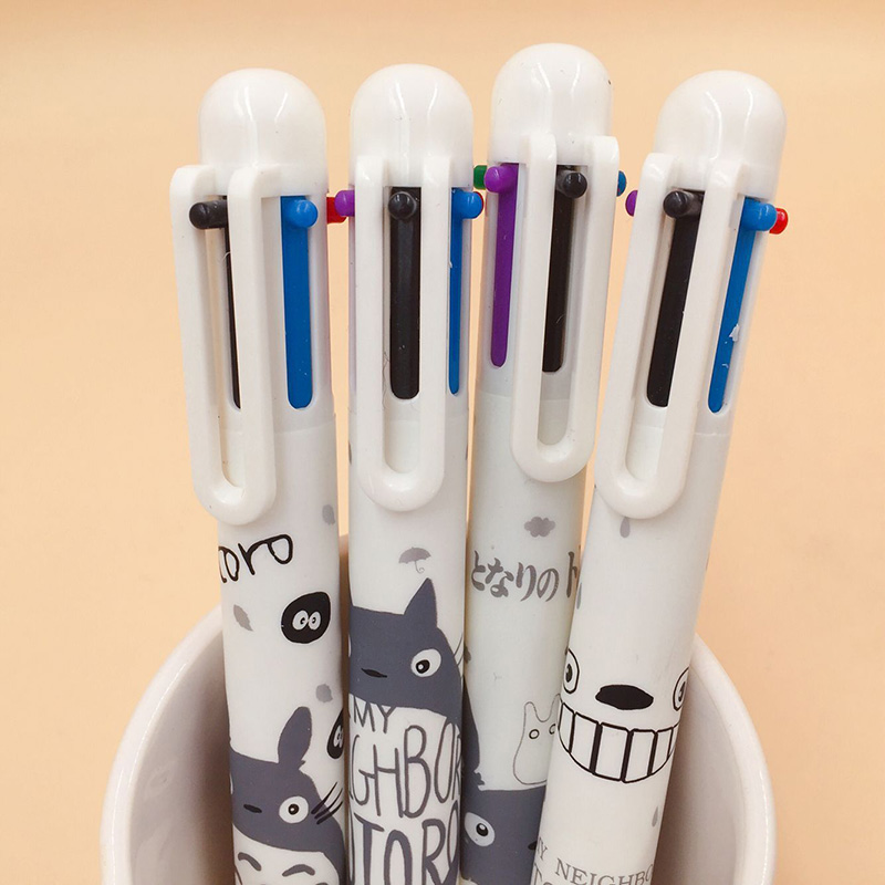 6 Colors In 1 Multicolor Totoro Pens  Kawaii Ball Pens Cute Ballpoint PensFor Kids Girls Gifts School Office Supplies Stationery