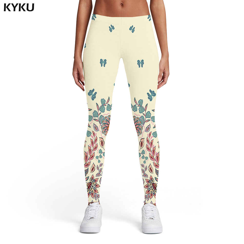 Kyku Flower Leggings Women Animal Leggins Butterfly 3d Print Harajuku Trousers Leaf Elastic Womens Leggings Pants Casual Slim