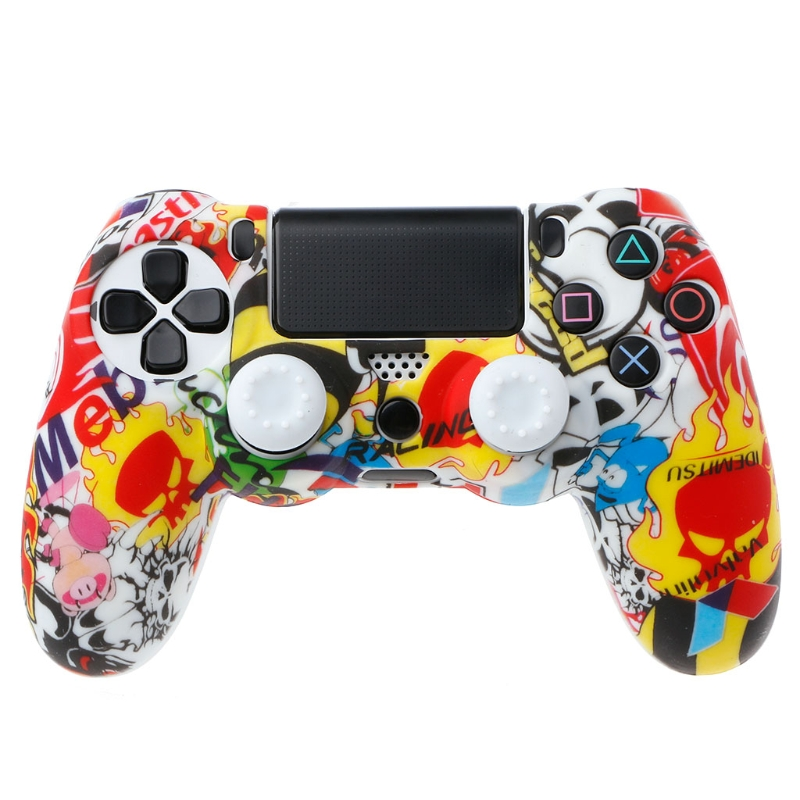 Anti-Slip Multicolor Silicone Cover Skin Case + 2 Thumbsticks Grips For Sony Dualshock 4 PS4 Pro Slim Controller(China)