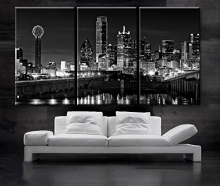 3 Piece Canvas Paintings Wall Art Black and White City Night View Artwork  for Home Decor