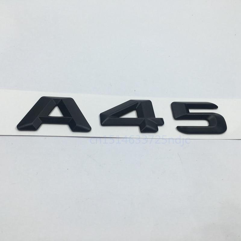 Otomobiller ve Motosikletler'ten Araba Çıkartmaları'de Mat Siyah 45 Gövde Arka Numarası Harfleri Rozeti Amblem Sticker Mercedes Benz için W176 AMG Bir Sınıf A45 title=