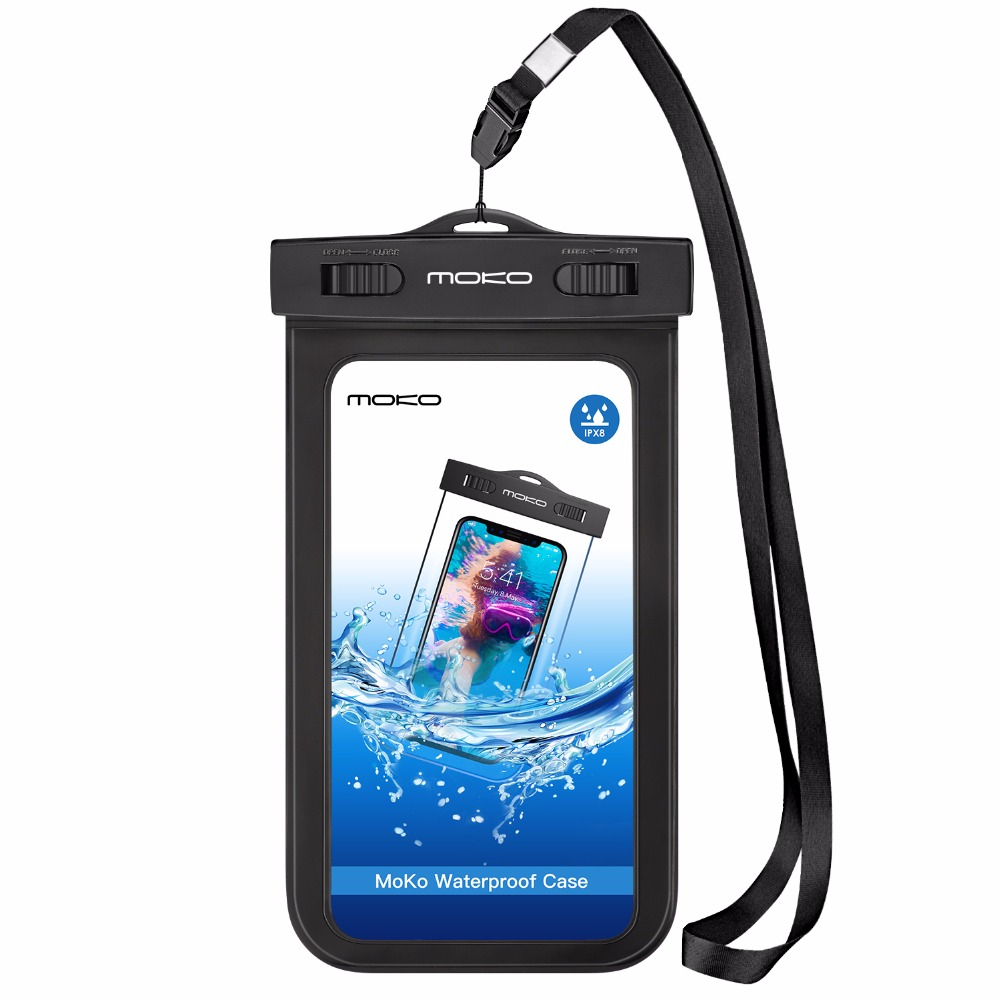 Universal Waterproof Case,MoKo Underwater CellPhone Dry Bag Pouch for iPhone X /8 Plus /8/7/6s Plus, Galaxy S8+/ S8,Honor &More universal waterproof bag w built in compass armband strap for iphone cellphone black
