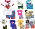 1 Unidades Verano Niños Ropa de Muchachas de Los Bebés Del Hombre Araña Superman Batman ropa de Dormir Pijamas de Los Niños Pijamas de Algodón de Manga Corta conjunto