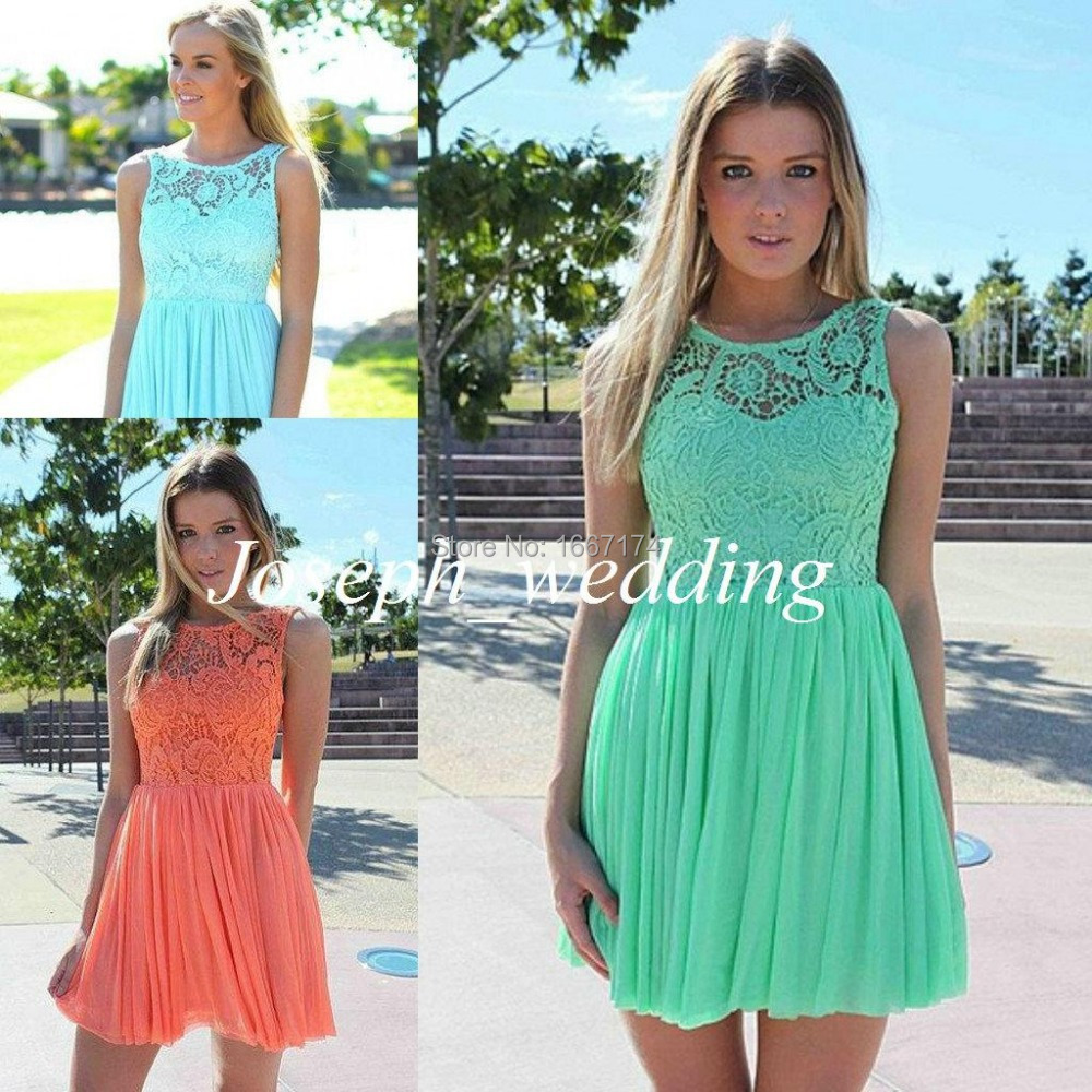 Cheap Bridesmaid Dresses Coral Mint Green Sky Blue Short Peach Color ...