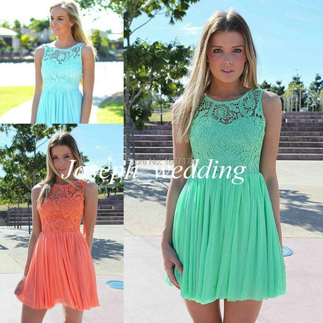 c4ddec8ce86 Cheap Bridesmaid Dresses Coral Mint Green Sky Blue Short Peach Color Lace  Chiffon Bridesmaid Dress Patterns 2015 Free Shipping