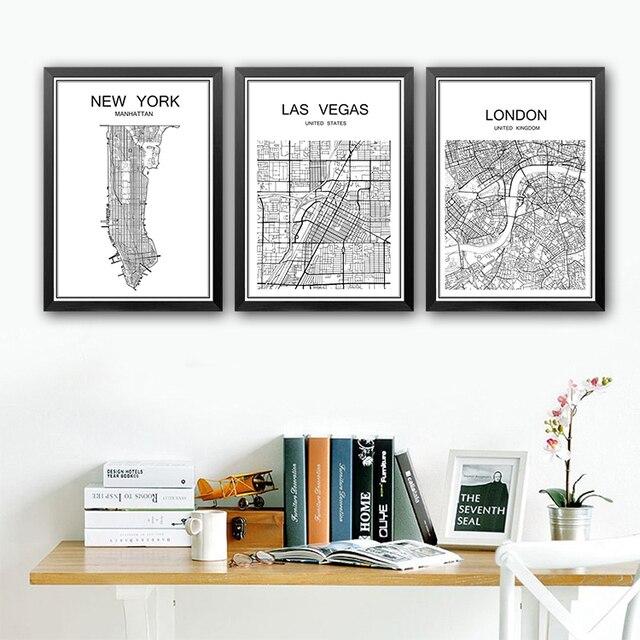 Schwarz Weiss World City Karte Vintage Malerei Poster Wandaufkleber