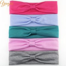 20pcs/lot New Arrival Kids Girl Solid Color Elastic Cotton Jersey Headband Chic DIY Hair Accessories Headwear Headwrap Bandana(China)