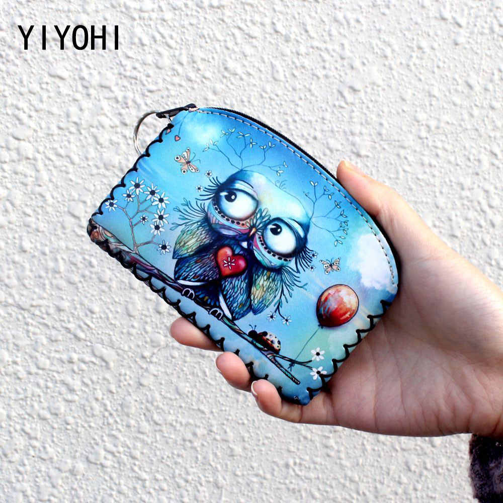 Fashion Print Animals Coin Purse With Zipper Plush Key Chain Coin Bag Kawaii Hand Made Children Leather Coin Purse Kids Wallet