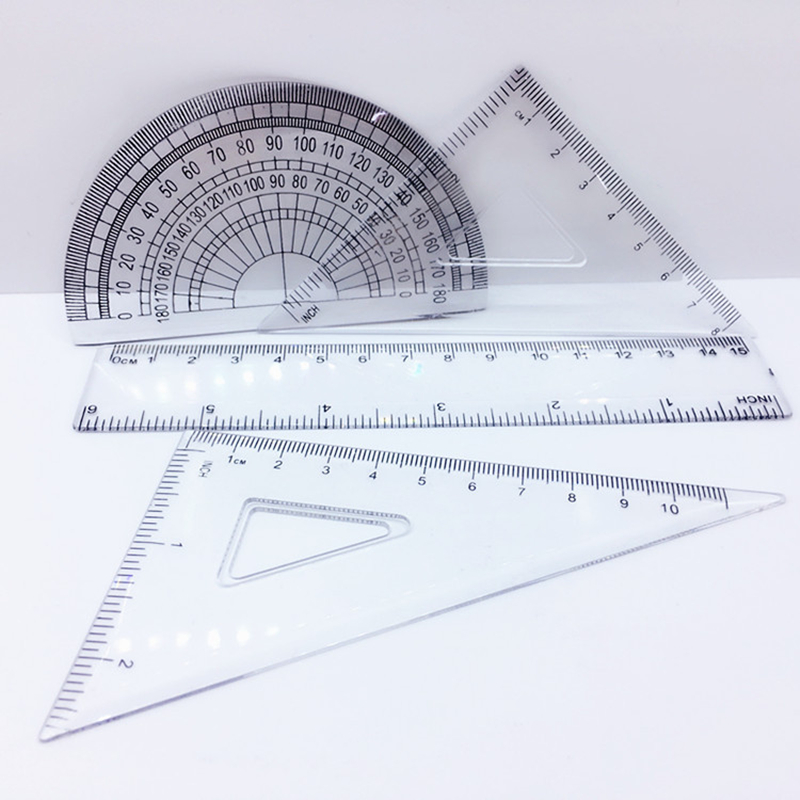 Coloffice 4pcs(1set)Creative 15CM Student Office Drawing Ruler  Transparent Plastic Ruler Measuring Stationary  School Supply