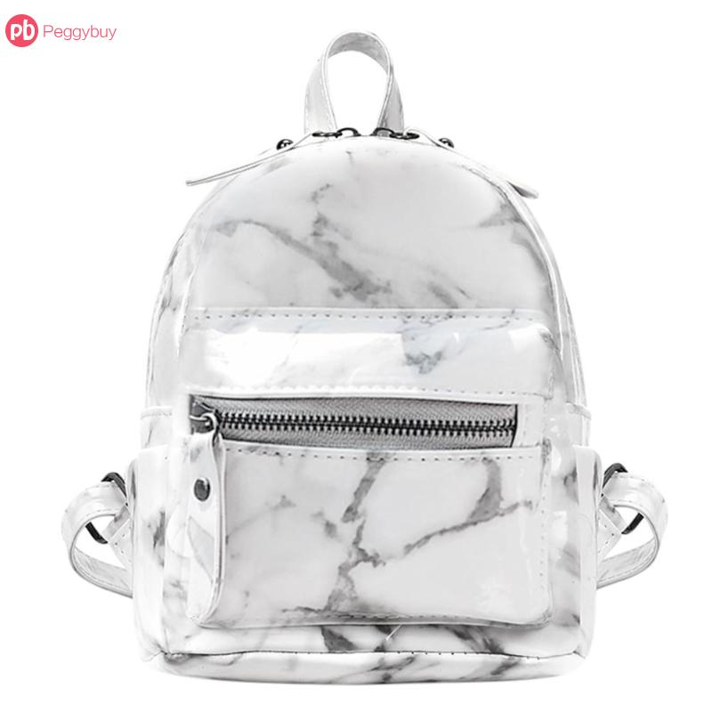 2018 Female Cute Back Pack Women Small Backpack PU Leather Rucksack New Marble Pattern Backpack for Teenage Girls Black White ...