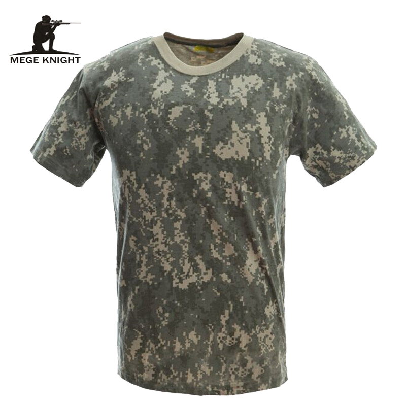 MEGE Military Camouflage Breathable Combat T-Shirt,  Men Summer Cotton T-shirt, Army Camo Camp Tees