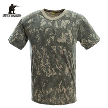 MEGE Military Camouflage Breathable Combat T-Shirt,  Men Summer Cotton T-shirt, Army Camo Camp Tees(China)