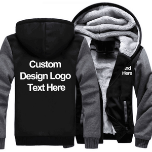 Image 2 - US Size Custom Mens Hoodies DIY Print LOGO Design Hoodie Winter Fleece Thicken Coat Jacket Sweatshirts Drop Shipping