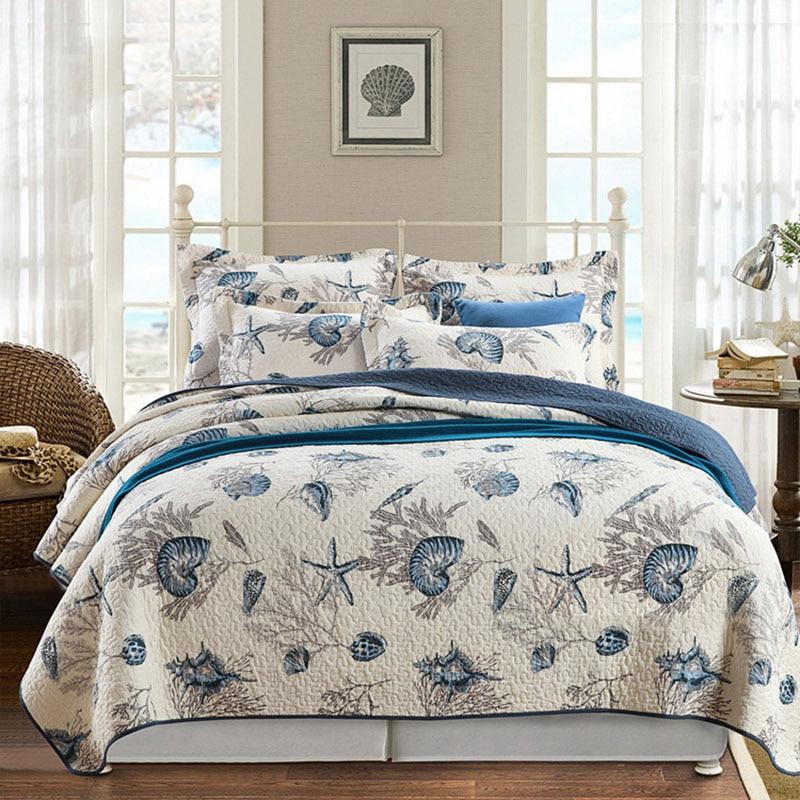 품질 침대보 퀼트 세트 3 pcs 해양 인쇄 침구 빨 코튼 퀼트 에어콘 침대 커버 킹 퀸 사이즈 커버 렛-에서누비이불부터 홈 & 가든 의  그룹 1