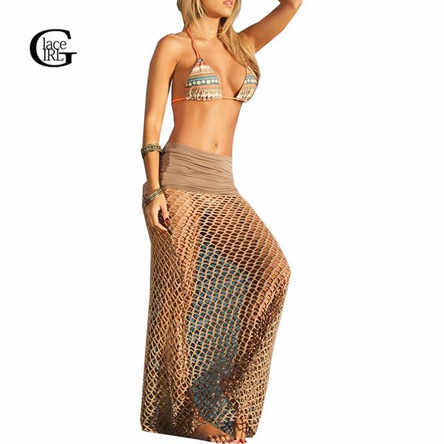 Cordón de La Muchacha de Las Mujeres de Malla Ahueca Hacia Fuera La Falda Larga 2017 Del Verano Crochet traje de Baño Bikini Cover Up Falda Color Sólido Atractivo de la Playa Falda Larga