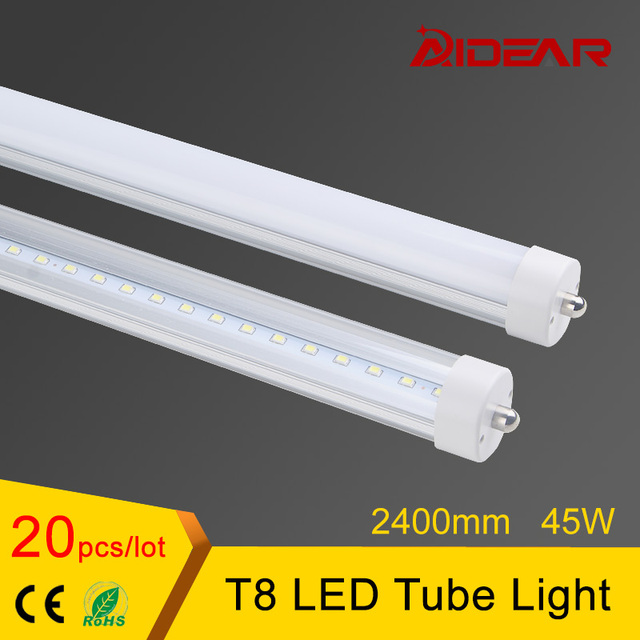 Free shipping 8ft T8 Led Tube Light 2400mm Lamp Tubes 85-265V Factory Price no tax