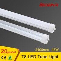 US Stock Livraison gratuite 8ft T8 Led Tube Lumière 2400mm Tubes De Lampe 85-265 V Usine Prix