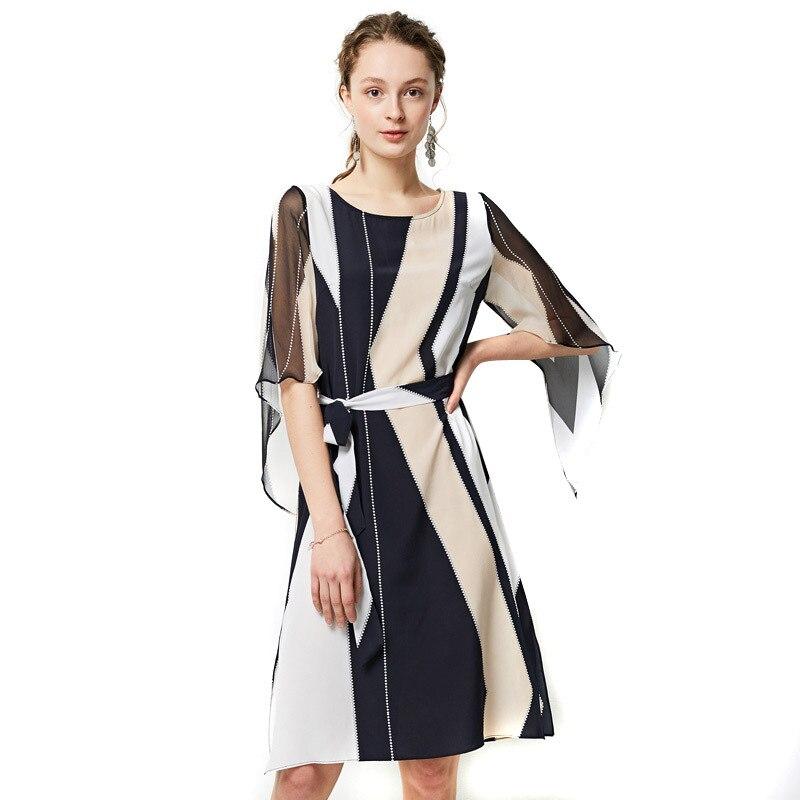 جديد أزياء الصيف النساء اللباس فستان حريري الحقيقي منتصف العجل o منتصف الخصر الحرير فضفاضة أنيقة OL اللباس YQM252-في فساتين من ملابس نسائية على  مجموعة 1