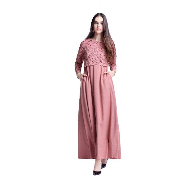 c5df258b9fcb Cheap Vestido largo musulmán plisado con volantes de Malasia islámica turca  Abayas para mujeres bata muselmane