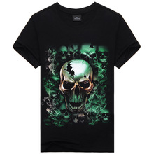 New Men's Cotton Slim Short-Sleeve T-Shirts Skull Printing Fitness Sport Tops Tees Printing Bodybuilding Running Sportwears113